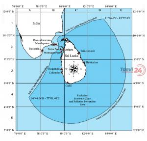 Map of the Sri Lankan Exclusive Economic Zone EEZ Source Maritime Boundaries